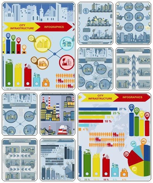 Set of elements infrastructure city, vector infographics - vector stock