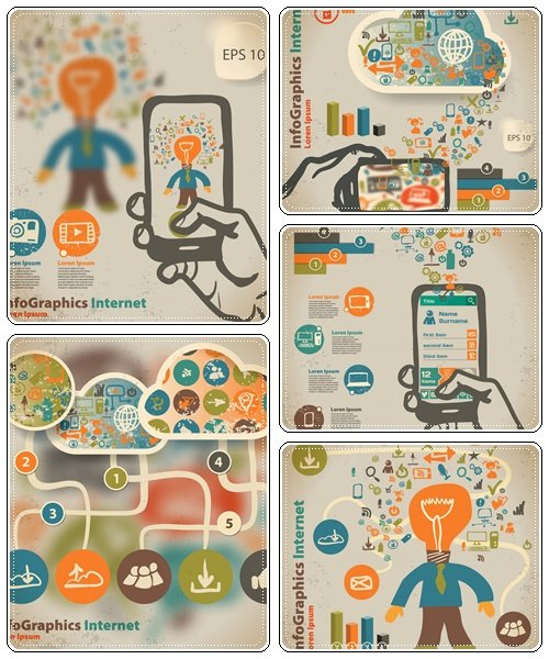 Template for infographic with hand with smartphone in vintage style - vector stock