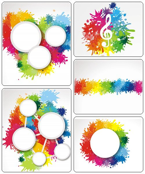 Color splash banners - vector stock