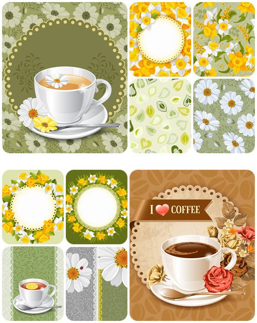 Spring tea time and floral background - vector stock