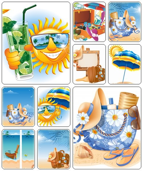 Beach accessories, part 5 - vector stock