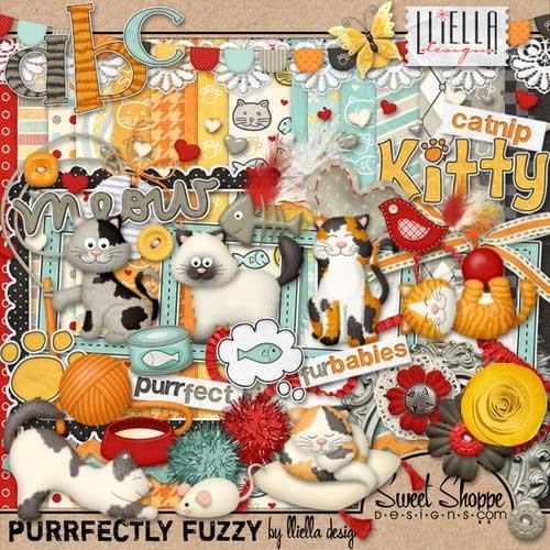 Забавный скрап-комплект для любителей кошек - Purrfectly  Fuzzy