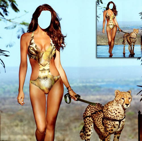Женский шаблон - Прогулка с ягуаром