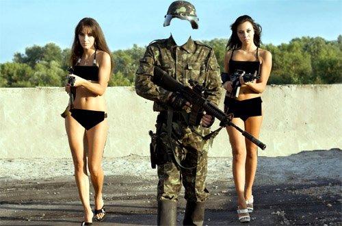 Шаблон для фото - Солдат в форме и с 2-мя девушками