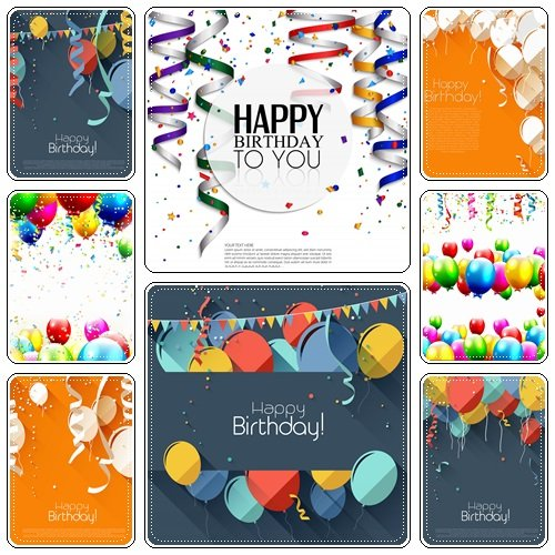 Colorful birthday background with place for text - vector stock