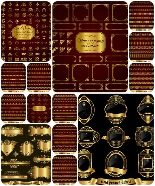 Borders with corner elements in gold - vector stock