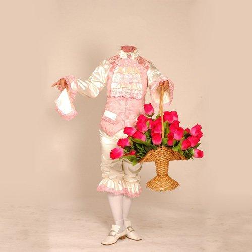 Шаблон для фотошопа - В старинном костюме с букетом больших роз
