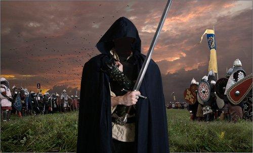 Шаблон psd мужской - Темный рыцарь с мечом