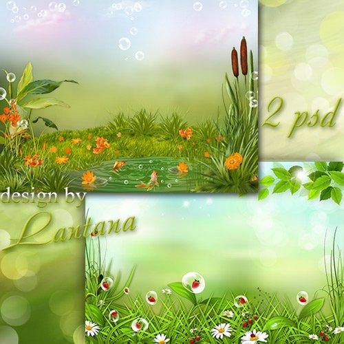Многослойные фоны - На зеленом ковре молодого душистого луга