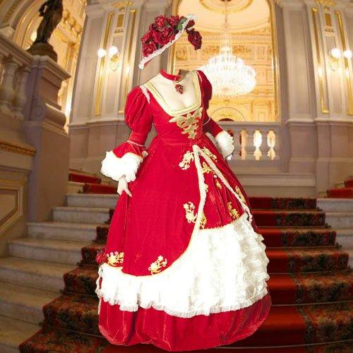 Шаблон для фотомонтажа - В платье и шляпе из роз