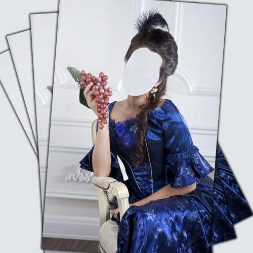 Шаблон для фотомонтажа - Дама в синем платье на кресле
