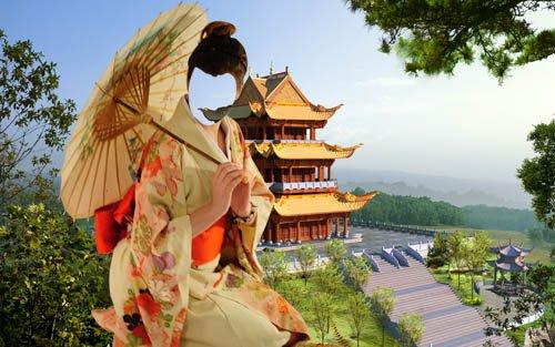 Шаблон psd женский - Девушка в костюме гейши