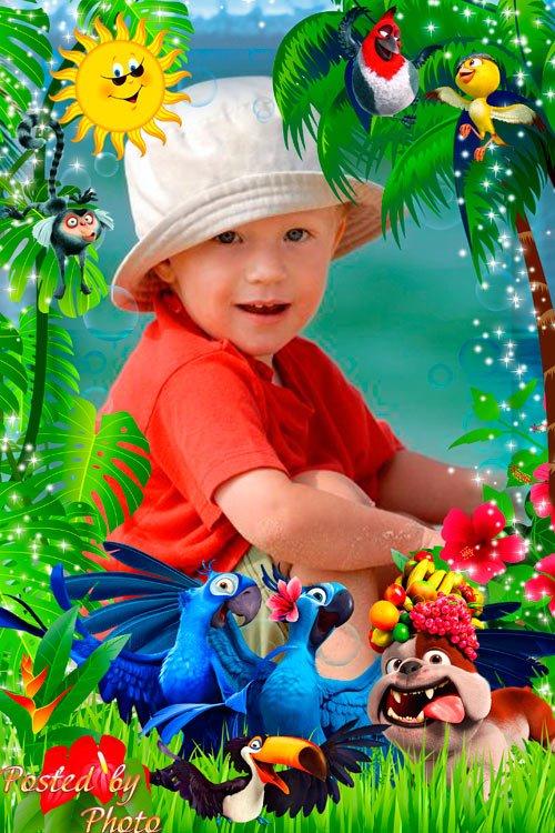 Детская рамка с героями м/ф Рио - Голубчик и Жемчужинка
