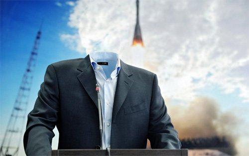 Выступление на запуске ракеты - шаблон для фотошопа