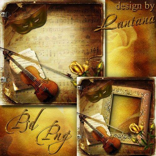 PSD исходник - Роза, скрипка, маска