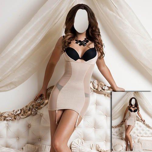 Красивая девушка стоя на кровати - Шаблон psd