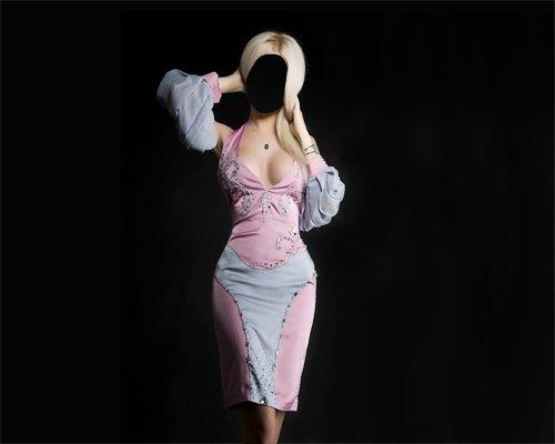 Блондинка в платье фотосет - Шаблон женский