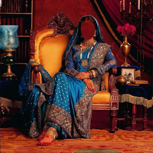 Девушка в дорогом наряде Индии - Шаблон женский