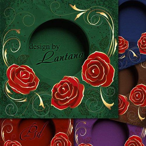 PSD исходник - Поздравительная открытка с розами