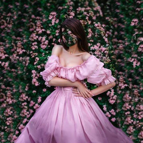 Шаблон женский - В пышном платье на фоне цветов
