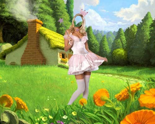 Шаблон psd женский - Фея на поляне сказок
