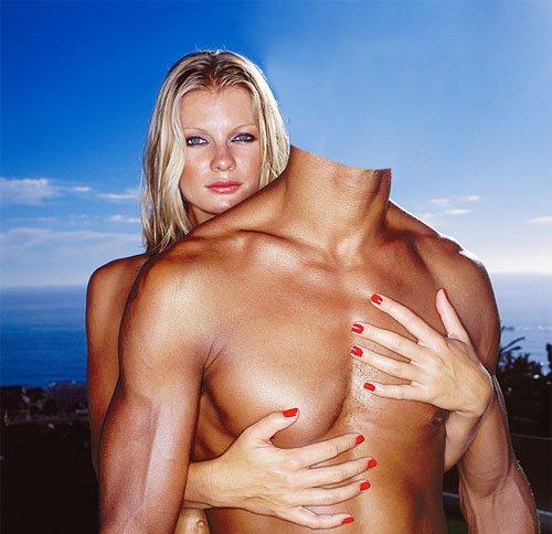 Шаблон для фотошопа - Накаченный парень с красивой девушкой