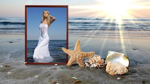 Закат на берегу моря - Рамка для фотографии