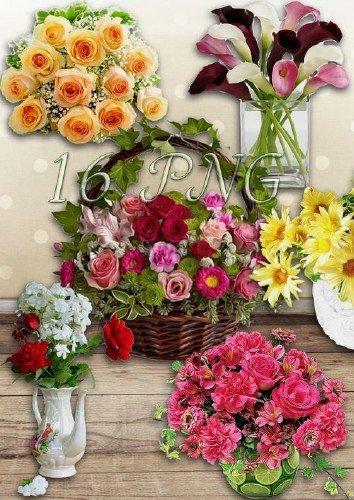 Букеты и корзинки с цветами на прозрачном фоне - Самый лучший подарок, это цветы
