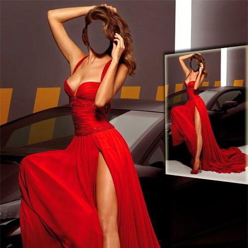 Шаблон psd женский - Девушка в красном платье возле автомобиля