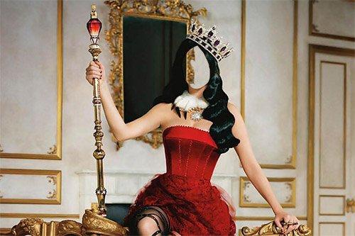 Красивая королева со скипетром и короной - Шаблон psd