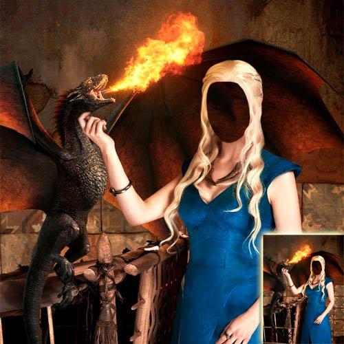 PSD шаблон для девушек - Огнедышащий драконом