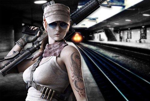 Шаблон для девушек - На станции метро вооруженная девушка