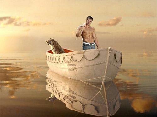 Шаблон psd - На лодке рядом с тигром