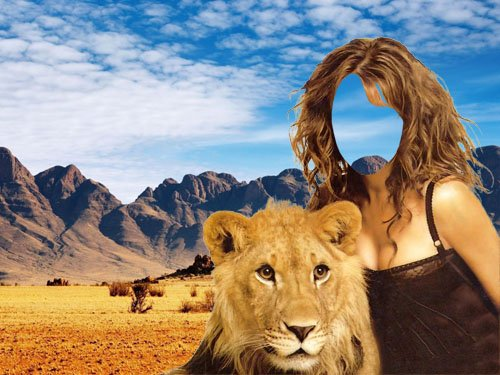 PSD шаблон для девушек - Девушка со львом