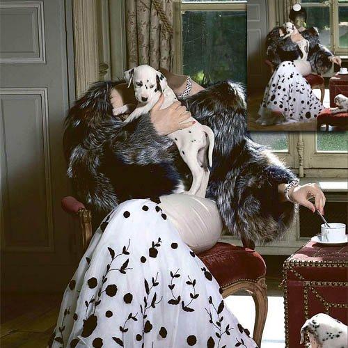 Шаблон для фото - Круэлла Девиль с щенками