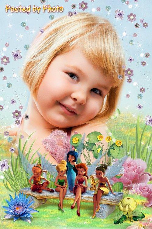Детская рамка для девочки - Феи на лавочке