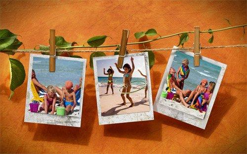 Рамка для фотошопа - 3 фотографии на веревочке