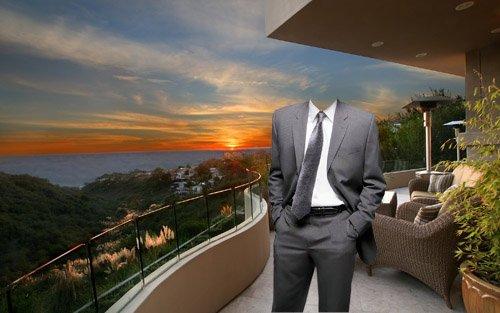 Шаблон psd мужской - Богатый мужчина на своей террасе