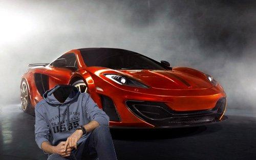 Шаблон мужской - Красное спортивное авто