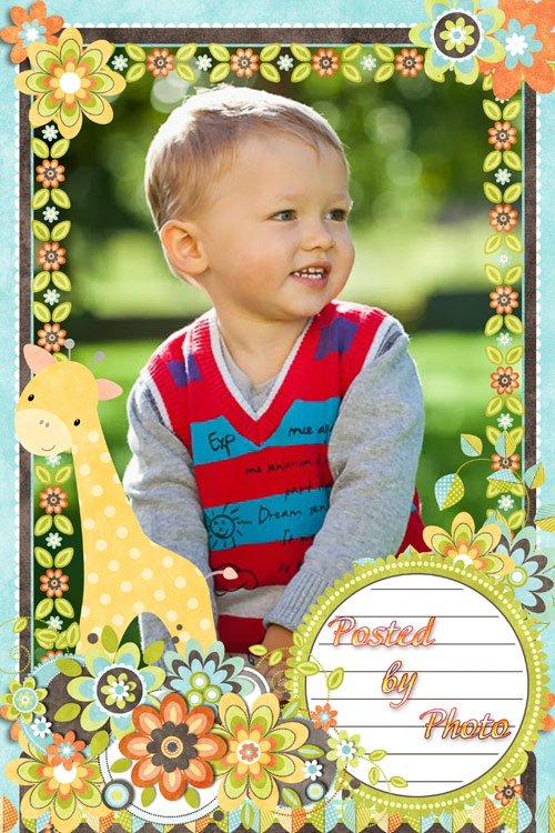 Детская скрап-рамка - Милый жираф