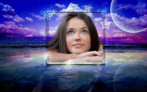 Рамка для фотошоп - Небесные желания