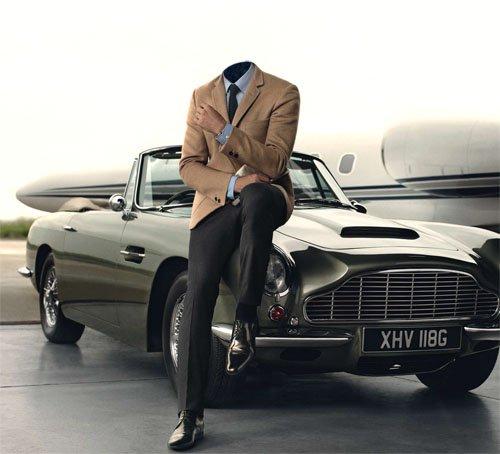PSD шаблон для мужчин - В костюме у ретро автомобиля