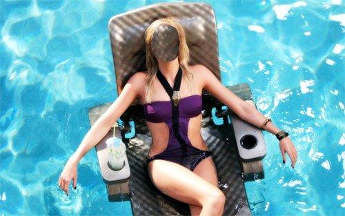 Отдых с коктейлем в бассейне - Шаблон для девушек