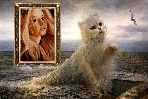 Рамка для фотографии - Кошечка из волны