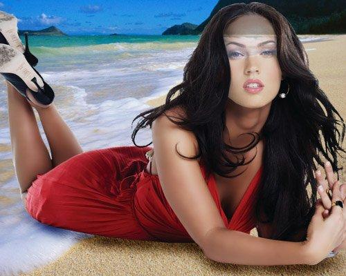 Шаблон для фотомонтажа - Девушка в платье на берегу моря
