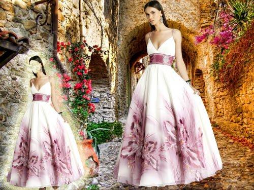 Шаблон для фотошопа - В прекрасном белом платье с цветочками