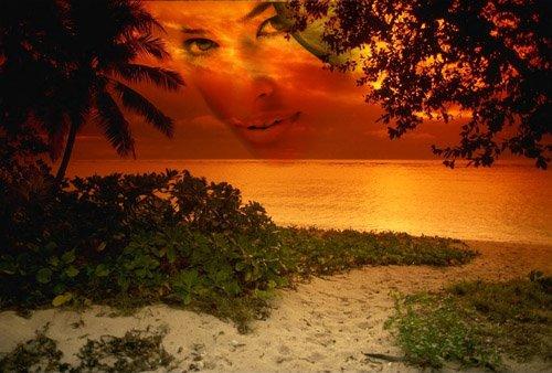 Рамка для фотошоп - Огненный морской закат