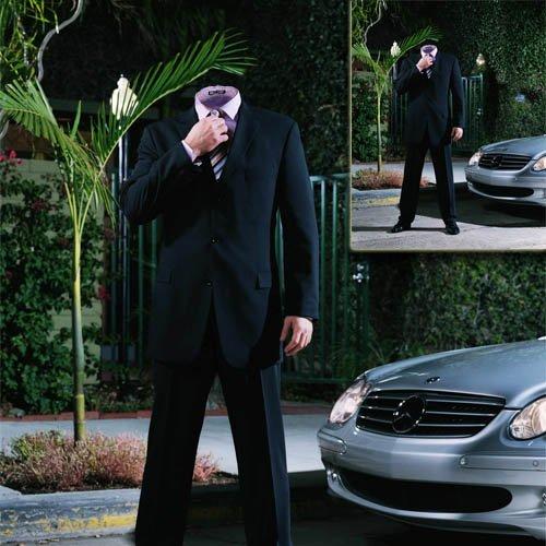 Шаблон для фотошопа - Бизнесмен у своего Мерса