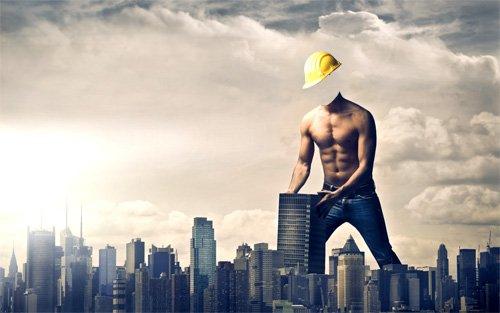Шаблон psd мужской - Строитель мегаполиса