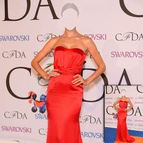 Шаблон psd - Знаменитость в красном платье